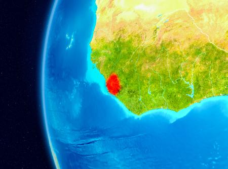 Illustration of Sierra Leone as seen from Earth's orbit on planet Earth. 3D illustration. Stock Photo