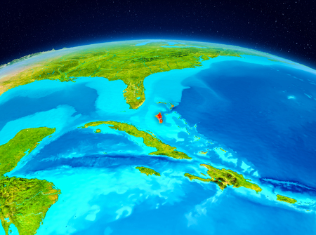 Satellite view of Bahamas highlighted in red on planet Earth. 3D illustration. Stock Photo