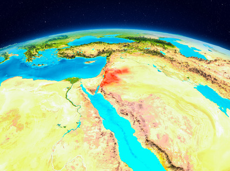 Satellite view of Jordan highlighted in red on planet Earth. 3D illustration. Stockfoto
