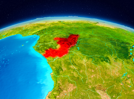 Satellite view of Congo highlighted in red on planet Earth. 3D illustration.