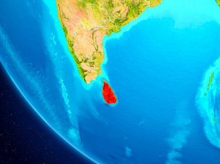 Sri Lanka highlighted in red on planet Earth. 3D illustration.