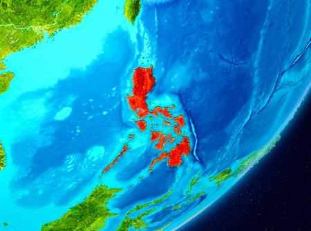 Map of Philippines as seen from space on planet Earth. 3D illustration. Stock Photo