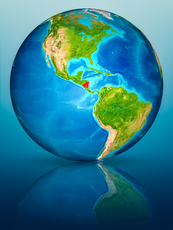 Nicaragua in red on model of planet Earth on reflective blue surface. 3D illustration. Stock fotó