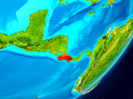 Map of Costa Rica as seen from space on planet Earth. 3D illustration. 版權商用圖片