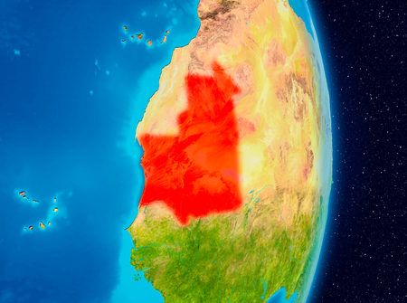 Country of Mauritania in red on planet Earth. 3D illustration.