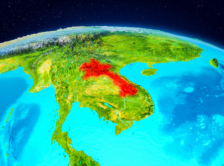 Satellite view of Laos highlighted in red on planet Earth. 3D illustration.