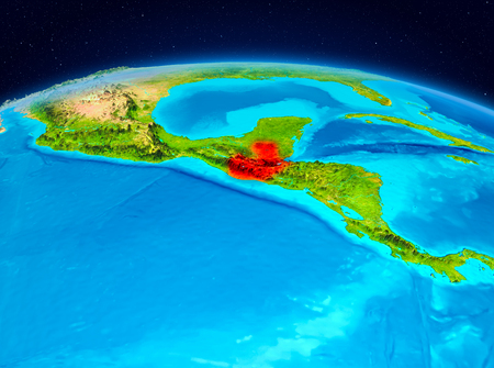 Satellite view of Guatemala highlighted in red on planet Earth. 3D illustration. Фото со стока