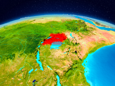 Satellite view of Uganda highlighted in red on planet Earth. 3D illustration.