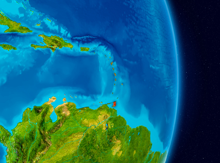 Country of Caribbean in red on planet Earth. 3D illustration. 版權商用圖片