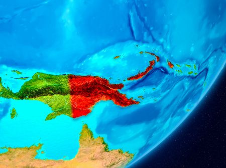 Map of Papua New Guinea as seen from space on planet Earth. 3D illustration.