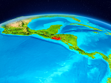 Satellite view of El Salvador highlighted in red on planet Earth. 3D illustration.
