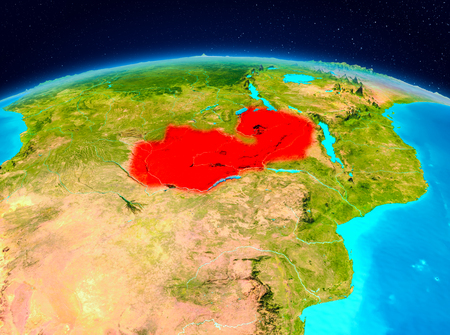 Satellite view of Zambia highlighted in red on planet Earth. 3D illustration. Stock Photo