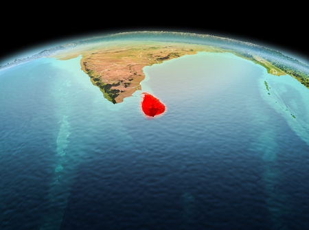 Morning above Sri Lanka highlighted in red on model of planet Earth in space. 3D illustration.