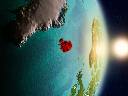 Iceland during sunrise highlighted in red on planet Earth with visible country borders. 3D illustration. Stock Photo