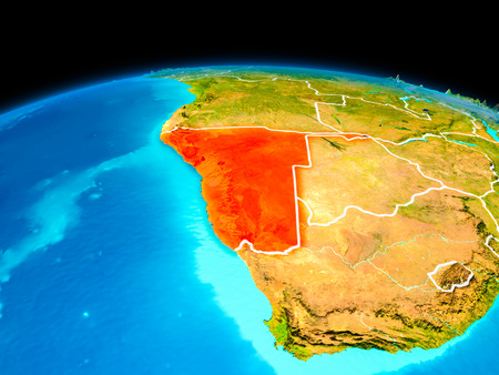 Satellite view of Namibia highlighted in red on planet Earth with borderlines. 3D illustration.