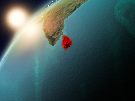 Sri Lanka during sunset highlighted in red on planet Earth with visible country borders. 3D illustration.
