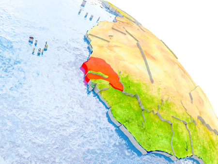 Illustration of Senegal highlighted in red on glob with realistic surface with visible country borders, and water in the oceans. 3D illustration. Stock Photo