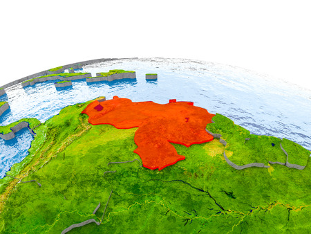 Venezuela highlighted in red on globe with realistic land surface, visible country borders and water in place of oceans. 3D illustration.