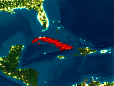 Satellite night view of Cuba highlighted in red on planet Earth. 3D illustration.