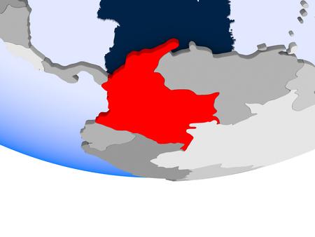 Colombia on 3D model of political globe with transparent oceans. 3D illustration. Reklamní fotografie