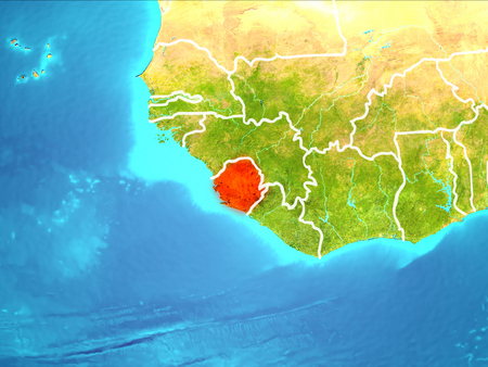 Sierra Leone highlighted in red from Earth's orbit. 3D illustration.