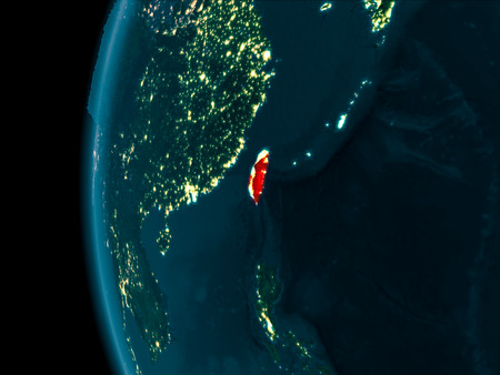 Taiwan from orbit of planet Earth at night with highly detailed surface textures. 3D illustration.