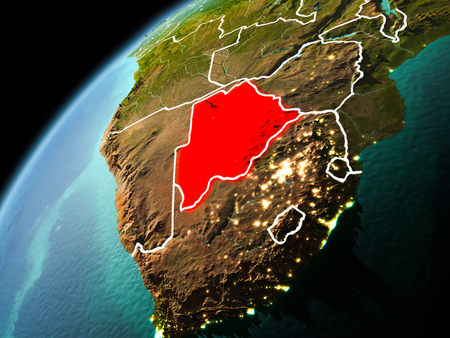 Illustration of Botswana as seen from Earth's orbit in late evening with visible border lines and city lights. 3D illustration.