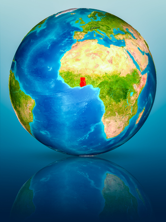 Ghana in red on model of planet Earth on reflective blue surface. 3D illustration.