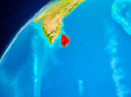 Orbit view of Sri Lanka highlighted in red on planet Earth. 3D illustration. Stock Photo
