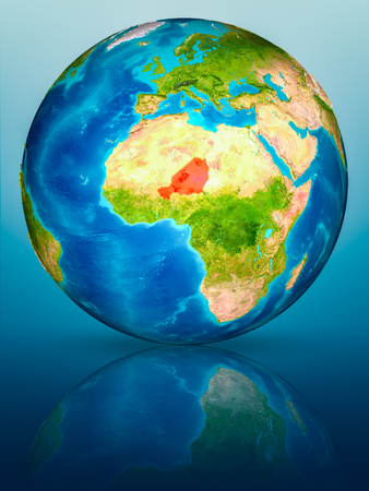 Niger in red on model of planet Earth on reflective blue surface. 3D illustration. Stock fotó