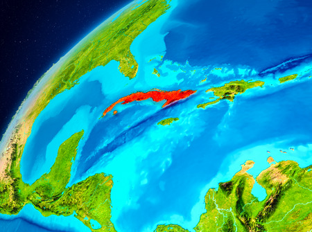 Orbit view of Cuba highlighted in red on planet Earth. 3D illustration. 写真素材