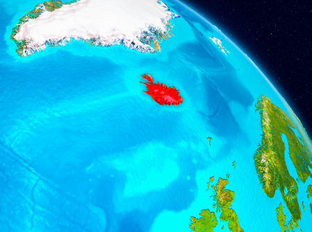 Space view of Iceland highlighted in red on planet Earth. 3D illustration. Stock Photo