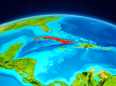 Satellite view of Cuba highlighted in red on planet Earth. 3D illustration.