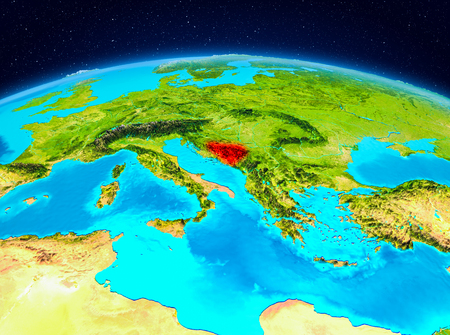 Satellite view of Bosnia and Herzegovina highlighted in red on planet Earth. 3D illustration.
