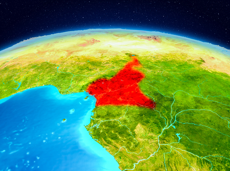 Satellite view of Cameroon highlighted in red on planet Earth. 3D illustration.