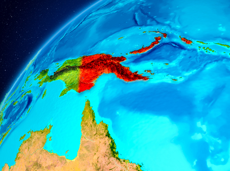 Orbit view of Papua New Guinea highlighted in red on planet Earth. 3D illustration. Stock Photo