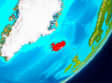 Map of Iceland as seen from space on planet Earth. 3D illustration.