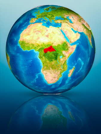 Central Africa in red on model of planet Earth on reflective blue surface. 3D illustration.