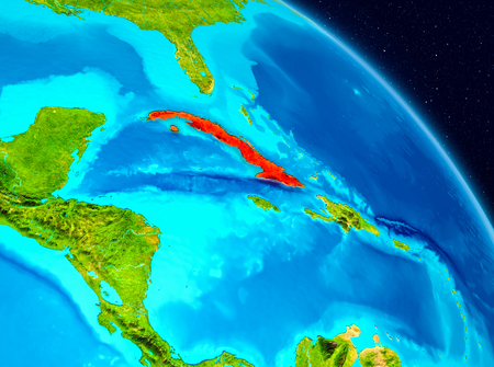 Space view of Cuba highlighted in red on planet Earth. 3D illustration.