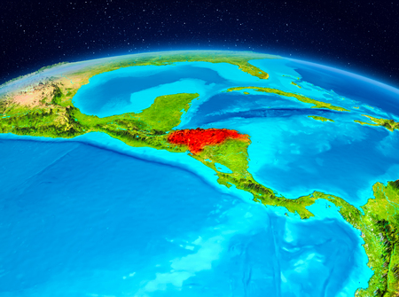 Satellite view of Honduras highlighted in red on planet Earth. 3D illustration.