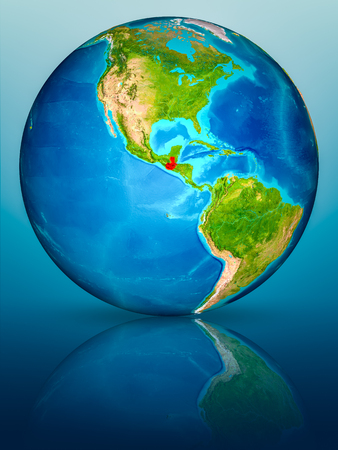 Guatemala in red on model of planet Earth on reflective blue surface. 3D illustration. Stock fotó