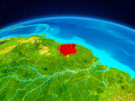 Satellite view of Suriname highlighted in red on planet Earth. 3D illustration.