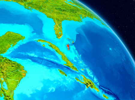 Space view of Bahamas highlighted in red on planet Earth. 3D illustration.