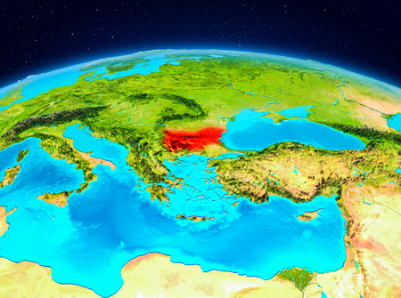 Satellite view of Bulgaria highlighted in red on planet Earth. 3D illustration.