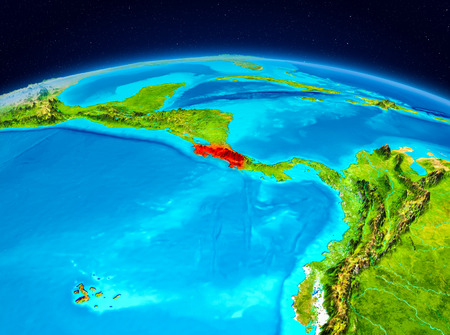 Satellite view of Costa Rica highlighted in red on planet Earth. 3D illustration.