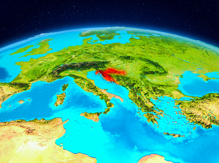 Satellite view of Croatia highlighted in red on planet Earth. 3D illustration.