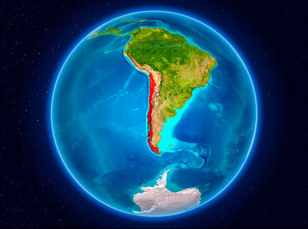 Chile in red from Earth's orbit. 3D illustration. Banco de Imagens