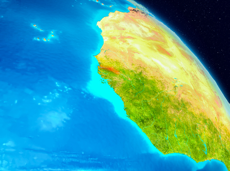 Space view of Gambia highlighted in red on planet Earth. 3D illustration.