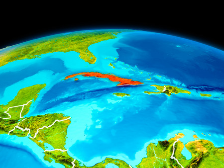 Satellite view of Cuba highlighted in red on planet Earth with borderlines. 3D illustration.