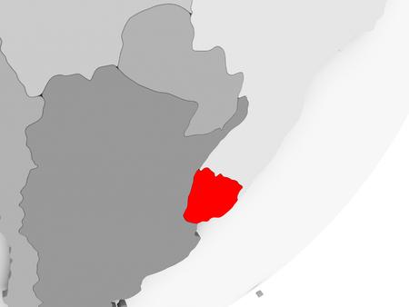 Illustration of Uruguay highlighted in red on grey globe. 3D illustration.